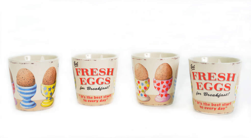 Egg cup fresh eggs set