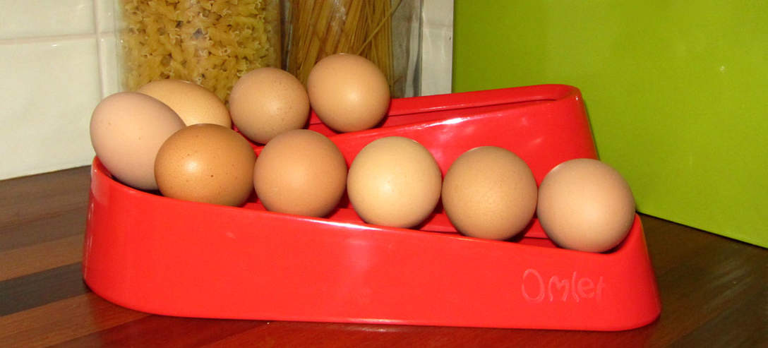 Red Egg Ramp in the kitchen