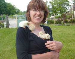 Rachel with chicks