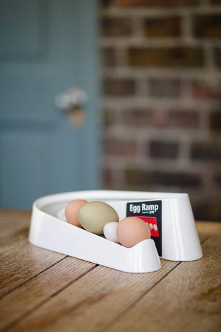 Egg ramp with sticker