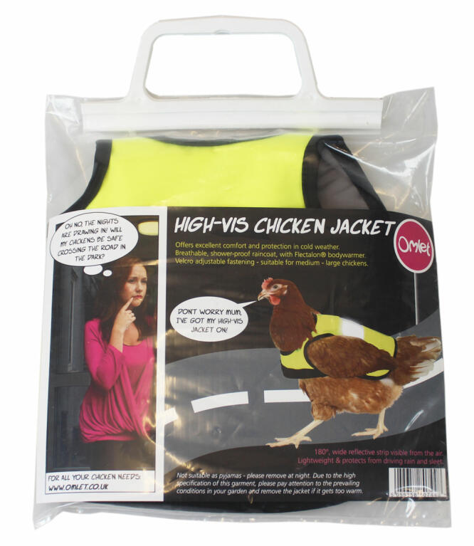The High-Vis Chicken Jacket comes in a smart presentation packet, making it an ideal gift.