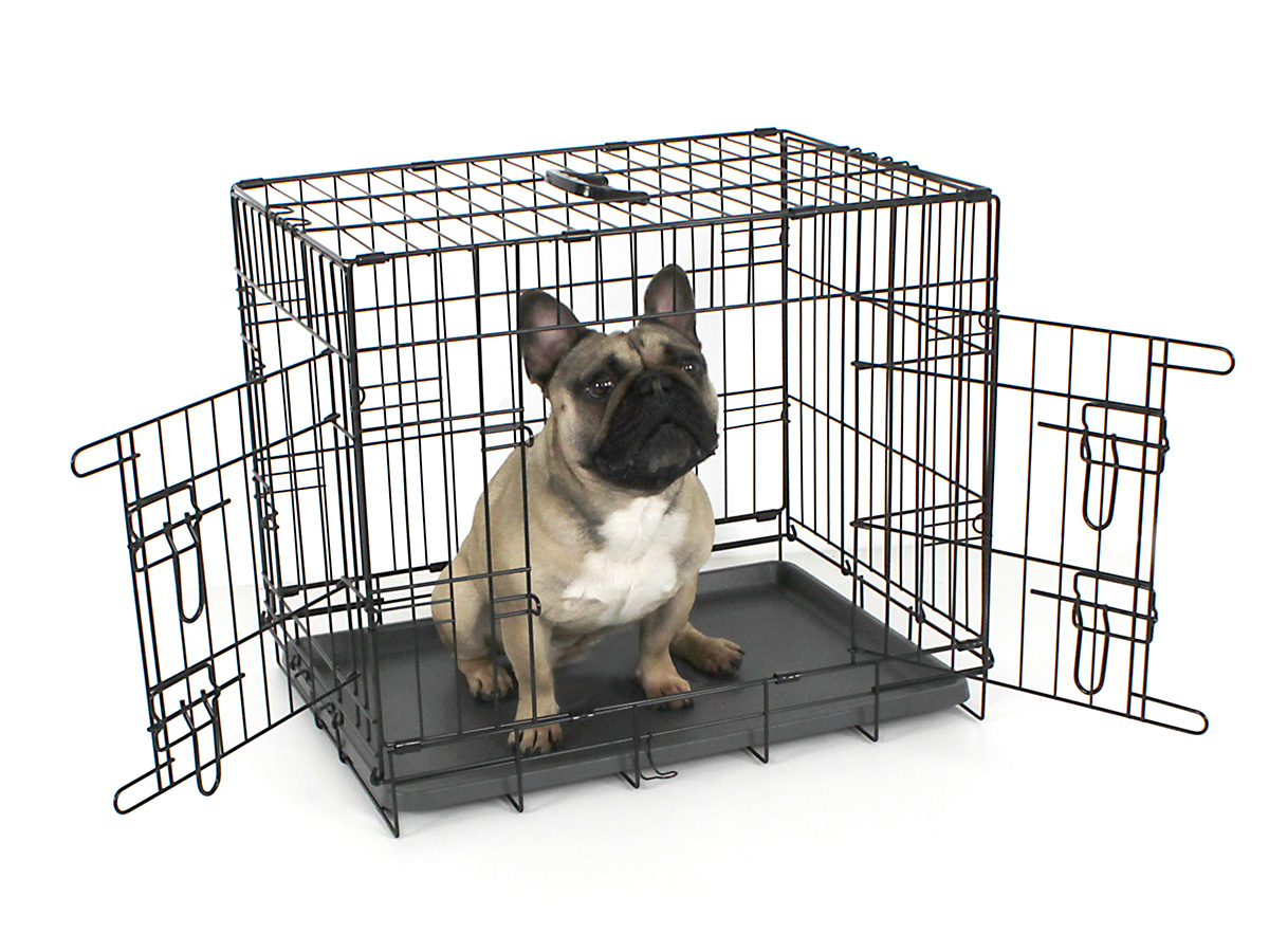 24 Inch Wire Dog Crate | Fido Classic Easy Folding Twin Door Metal Dog Crate Dog